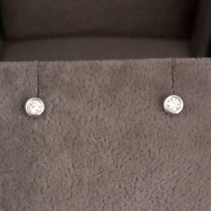 0.08 Carat Rub-Over Diamond Stud Earrings
