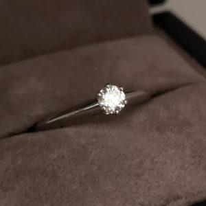 0.22 Carat Round Brilliant Cut Diamond 'Knife Edge' Tiffany Engagement Ring (Pre-owned)
