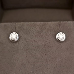 0.25 Carat Rub-Over Round Brilliant Cut Diamond Stud Earrings