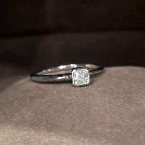 0.28 Carat Asscher Cut Diamond Solitaire Ring