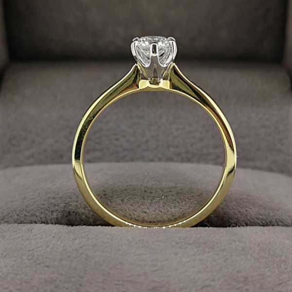 0.31 Carat Round Brilliant Cut Six Claw Diamond Solitaire Ring