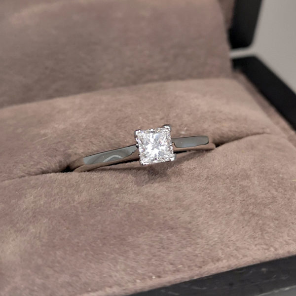 0.32 Carat Princess Cut Diamond Solitaire Ring