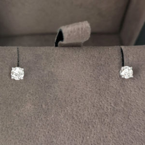0.33 Carat Round Brilliant Cut Diamond Stud Earrings