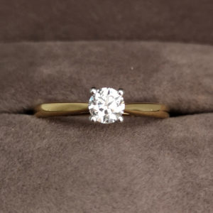 0.35 Carat Round Brilliant Cut Diamond Solitaire Ring