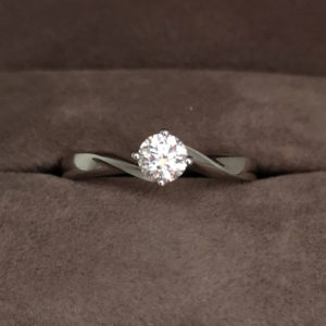 0.35 Carat Round Brilliant Cut 'Ribbon Twist' Diamond Solitaire Ring