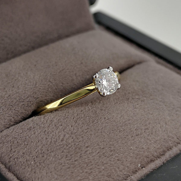 0.37 Carat Round Brilliant Cut Diamond Solitaire Ring