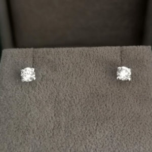 0.38 Carat Round Brilliant Diamond Stud Earrings