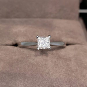 0.40 Carat Princess Cut Diamond Solitaire Ring