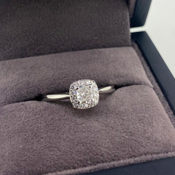 0.45 Carat Cushion Cut Diamond Halo Ring