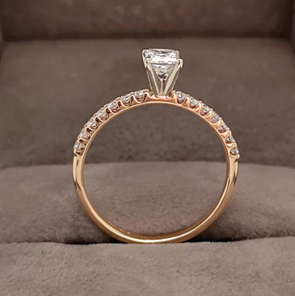 0.46 Princess Cut Diamond Ring with Claw Set Diamond Shoulders Rose Gold 3
