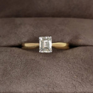 0.49 Carat Emerald Cut Diamond Solitaire Ring