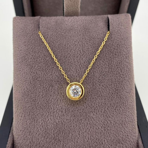 0.50 Carat Diamond Rub-Over Pendant & Yellow Gold Chain