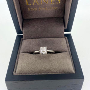 0.73 Carat Princess Cut Diamond Solitaire Ring