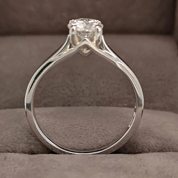 0.74 Carat Round Brilliant Cut Diamond Solitaire Ring