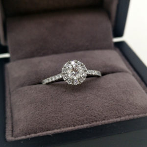 0.76 Round Brilliant Cut Diamond Ring with Diamond Halo and Shoulders