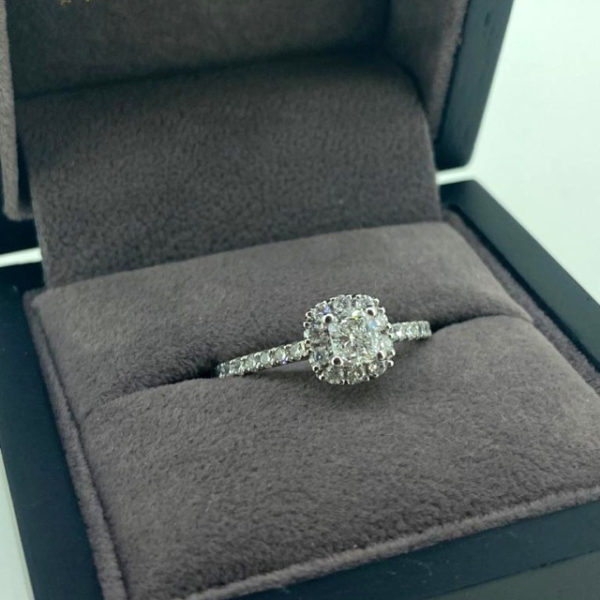 0.77 Carat Cushion Cut Diamond Ring with Diamond Halo and Shoulders