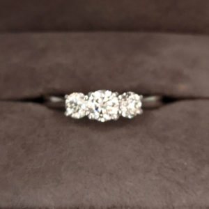 0.85 Carat Platinum Three Stone Diamond Ring