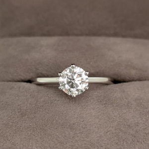 0.90 Carat Round Brilliant Cut Diamond Six Claw Solitaire Ring