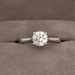 0.92 Carat Round Brilliant Cut Diamond Solitaire Ring