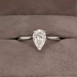 1.01 Carat Pear Shaped Diamond Engagement Ring - Made to Order