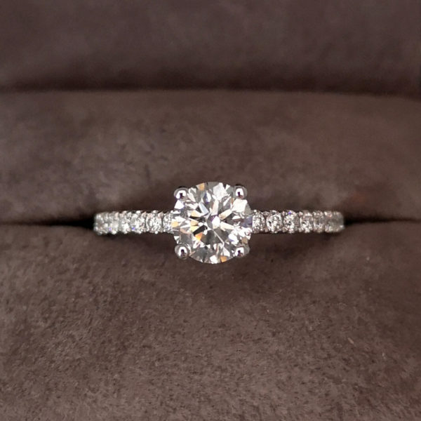 1.03 Carat Round Brilliant Cut Diamond Ring with Shoulders