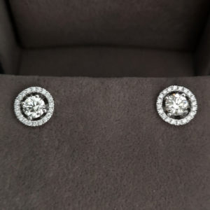 1.08 Carat Diamond Stud Earrings with Detachable Diamond Halos