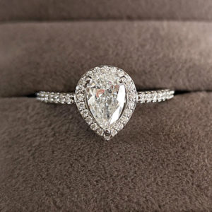 1.14 Carat Diamond Pear Shaped Halo Engagement Ring