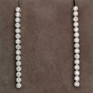 1.15 Carat Diamond Line Drop Earrings