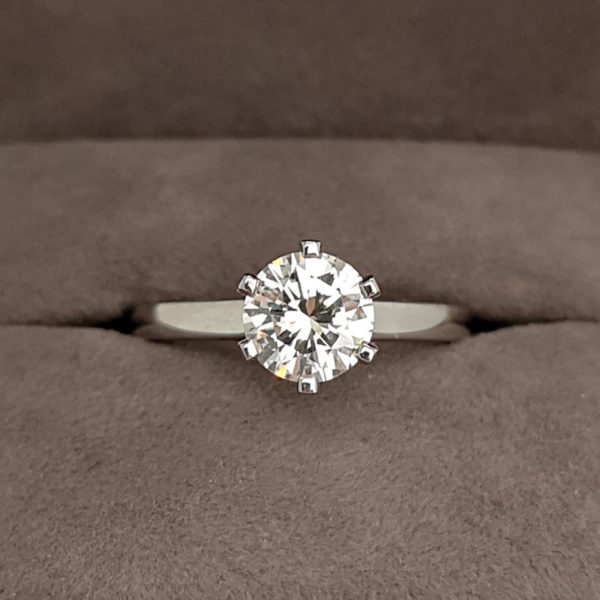 1.17 Carat Round Brilliant Cut Six Claw Diamond Solitaire Ring
