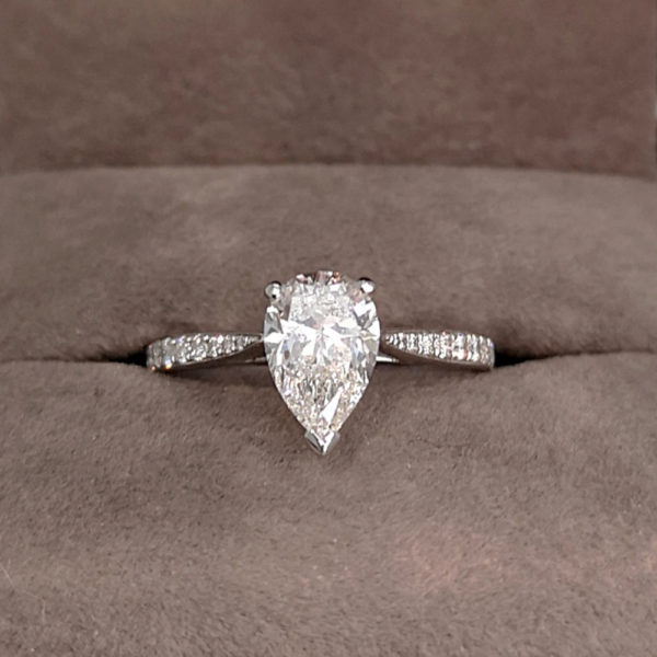 1.18 Carat Diamond Pear Shaped Engagement Ring with Diamond Shoulders