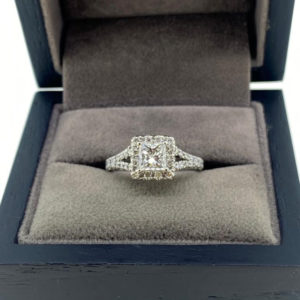 1.18 Carat Princess Cut Diamond Ring with Diamond Halo and Split Shoulders