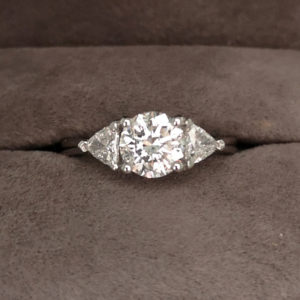 1.39 Carat Platinum Fancy Three Stone Diamond Ring