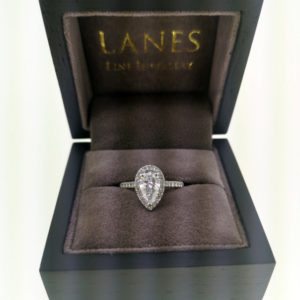 1.40 Carat Diamond Pear Shaped Halo Engagement Ring