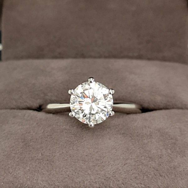 1.55 Carat Round Brilliant Cut Six Claw Diamond Solitaire Ring