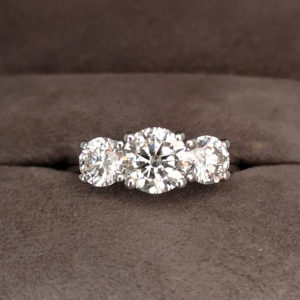 2.00 Carat Platinum Three Stone Diamond Ring