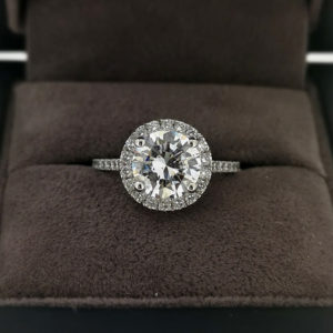 2.35 Carat Round Brilliant Cut Diamond Halo Ring