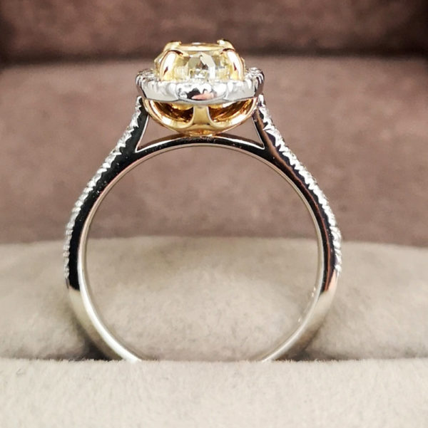 2.43 Carat Yellow Diamond Oval Shaped Halo Engagement Ring