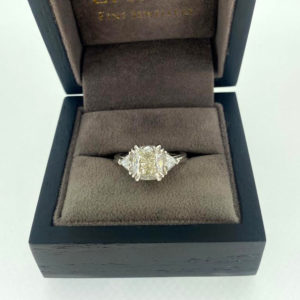 4.00 Carat Diamond Cushion & Trillion Cut Three Stone Ring