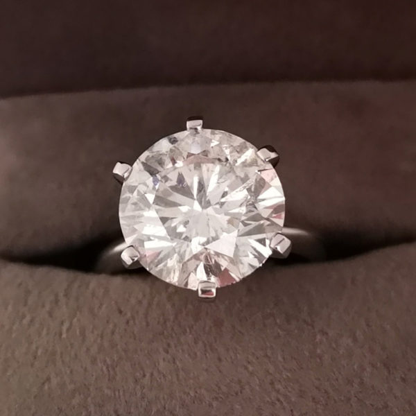 7.05 Carat Round Brilliant Cut Diamond Ring