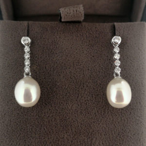 Akoya Pearl & Diamond Drop Earrings
