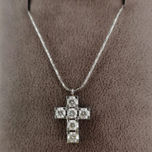 6 stone diamond pendant and chain in 18ct white gold
