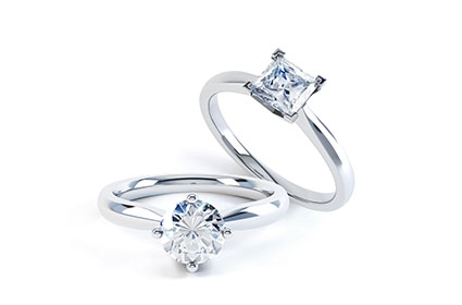 Diamond engagement rings at Lanes Jewellers in Leicester.