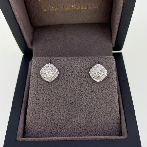 Double Halo Diamond Cluster Earrings