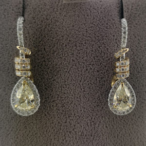 Fancy Yellow Diamond Drop Pear Shaped Earrings