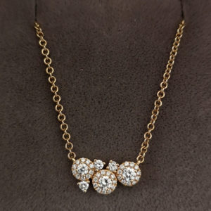 Fancy Yellow Gold Diamond Cluster Pendant and Chain