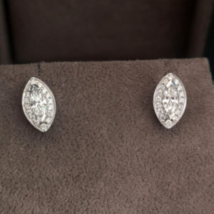 Marquise Shaped Diamond Halo Earrings