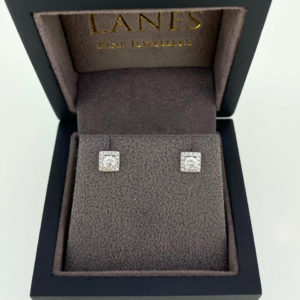 Square Halo Diamond Earrings