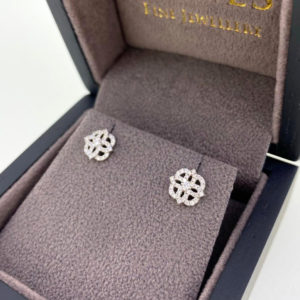 Vintage Style Floral Diamond Cluster Earrings