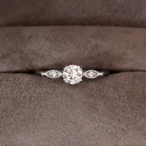 Vintage Style Round Brilliant Cut Diamond Ring