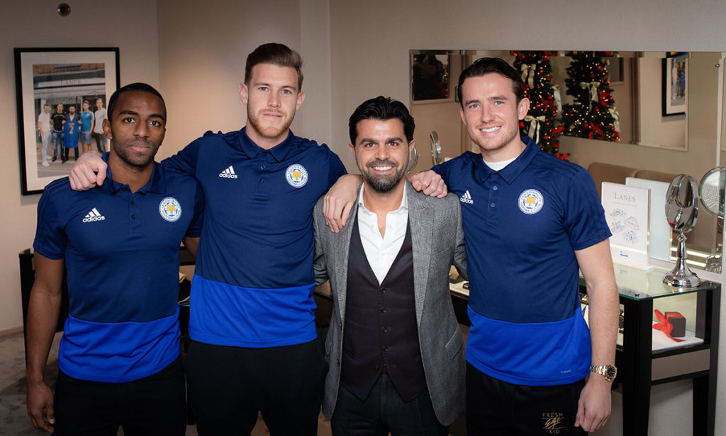 Ben Chilwell, Ricardo Pereira, Callum Elder of LCFC visit Lanes Fine Jewellery in Leicester